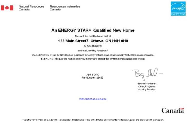 Sample certificate for ENERGY STAR